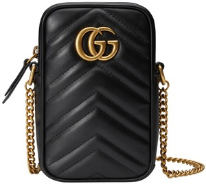 Gucci NEW GUCCI MARMONT BLACK LEATHER CROSSBODY PHONE BAG PURSE