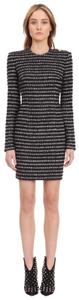Item - Black & White Stripped Tweed Mini  Night Out Dress