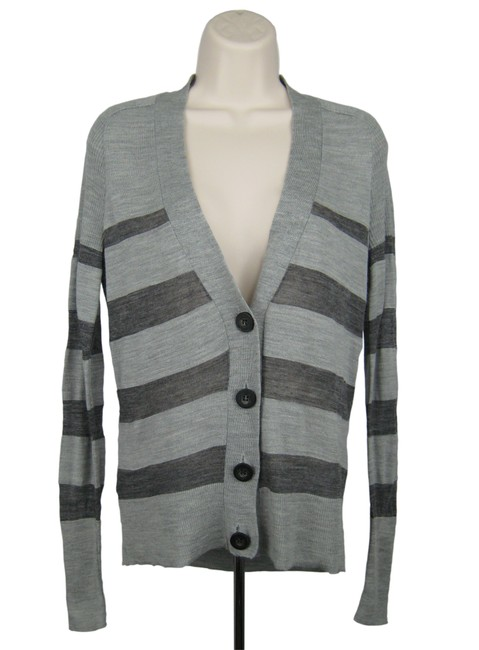 Item - Gray Sweater Stripe Wool Blend Button Up Cardigan Size 6 (S)