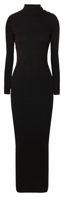 Item - Black Button-embellished Ribbed Merino Wool Long Casual Maxi Dress Size 2 (XS)
