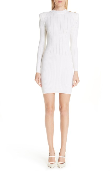 Item - White Shoulder Detail Body-con Wool Blend Night Out Dress Size 0 (XS)