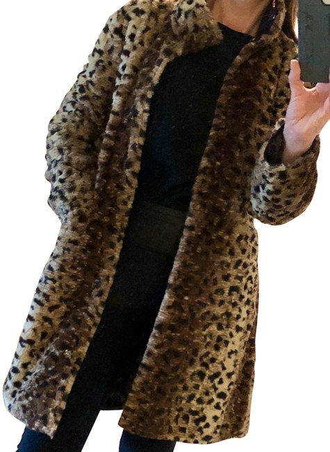 Item - Black / Leopard Reversible Faux and Puffy Coat Size 4 (S)