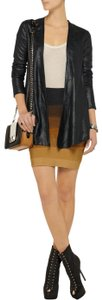 VEDA Coat Top Draped Metallic Cardigan Leather Jacket