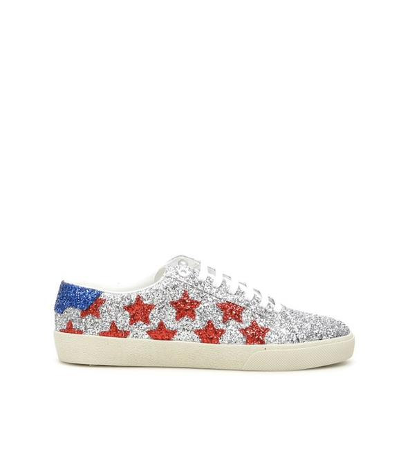 Item - Silver/Blue/Red Cr Glitter Sl/06 Sneakers Size EU 37 (Approx. US 7) Regular (M, B)