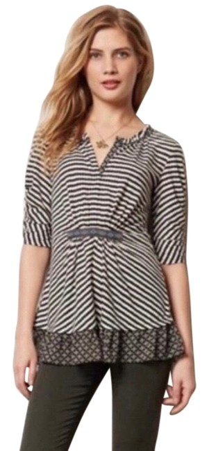 Item - Black and White Multi One September Galicia Stripe Blouse Size 2 (XS)