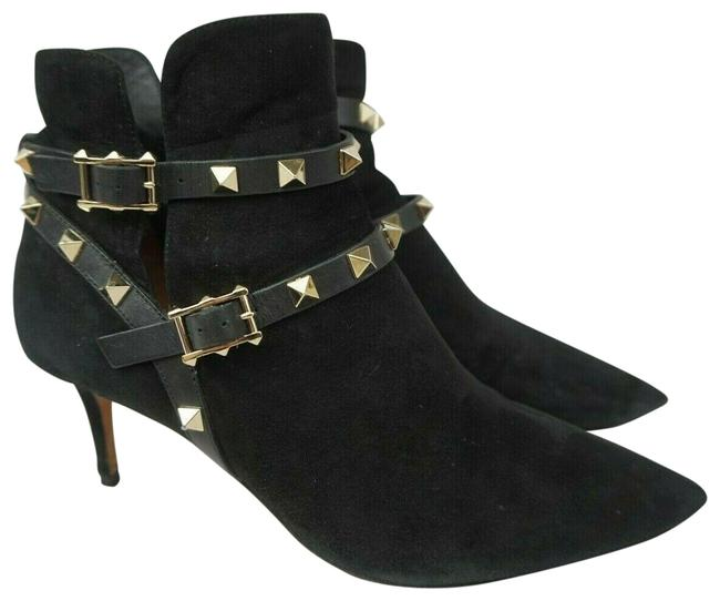 Item - Black Suede Rockstud Mid Ankle Women's Boots/Booties Size EU 37 (Approx. US 7) Regular (M, B)