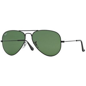 RAY BAN RAY BAN RB3025 BLACK METAL L2823 GREEN CLASSIC LENS AVIATOR SUNGLASSES