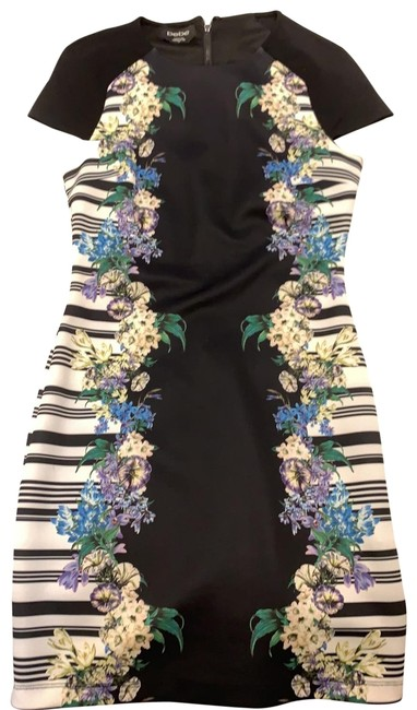Item - Black/Multi Floral Print Bodycon Short Night Out Dress Size 4 (S)