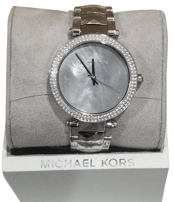 Item - Stainless Steel Parker Mother Of Pearl Dial Pave Watch