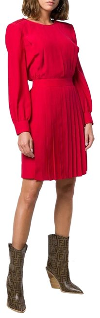 Item - Red Lorca Silk Pleated Crepe De Chine Short Night Out Dress Size 6 (S)