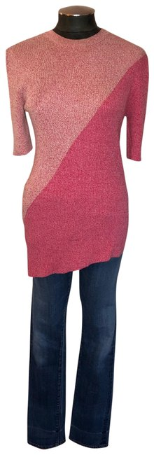 Item - Phoebe Philo Collection Asymmetrical Color Block Knit Pink Sweater