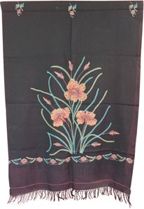 Black Scarf Wrap with Embroidered flowers