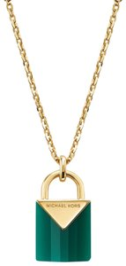 Michael Kors NEW 14K Gold-Plated Sterling Silver Padlock Necklace MKC1039AJ