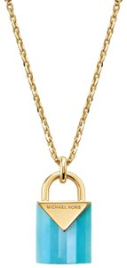 Michael Kors NEW 14K Gold-Plated Sterling Silver Padlock Necklace MKC1039AL