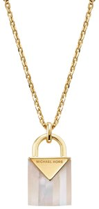 Michael Kors NEW 14K Gold-Plated Sterling Silver Lock Necklace MKC1039AH