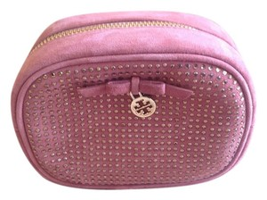 Tory Burch Tory Burch Pink Suede & Crystal Cosmetic Case