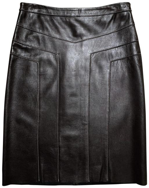 Item - Black Genuine Leather Top-stitched Skirt Size 2 (XS, 26)