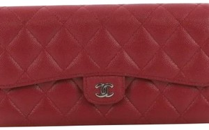 Chanel CC Gusset Classic Flap Quilted Caviar Long