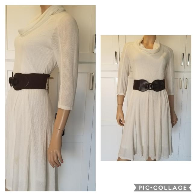 Item - Off White Fit & Flare Mid-length Work/Office Dress Size Petite 12 (L)