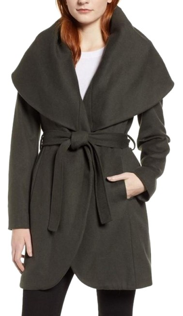 Item - Gray Green Marla Double Face Wool Wrap Belted Shawl Collar In Chive Coat Size 14 (L)