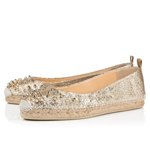 Christian Louboutin Spiked Espadrille Gold Flats