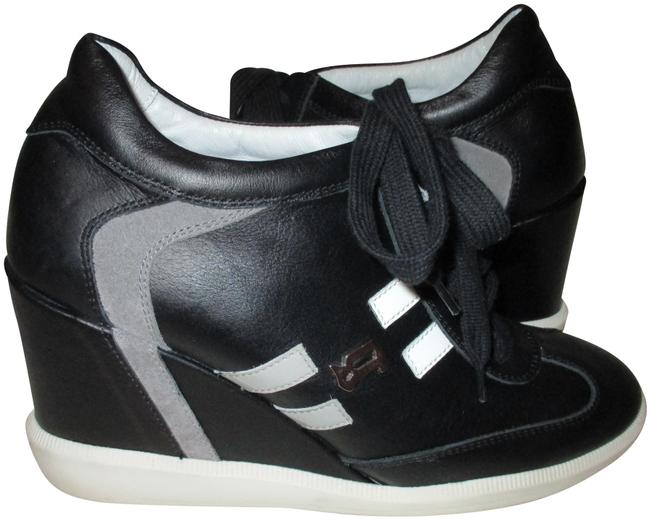 Item - Black White 5647 Leather Sneakers Wedge Boots/Booties Size EU 37 (Approx. US 7) Regular (M, B)