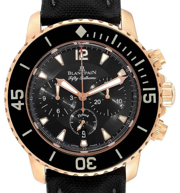 Item - Metallic Black Fifty Fathoms Flyback Rose Gold Chronograph Mens 5085f Watch