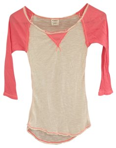 Free People T Shirt Salmon and cream