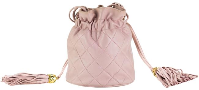 Item - Drawstring Bucket Quilted Two Tone Light Pink Lambskin Leather Hobo Bag