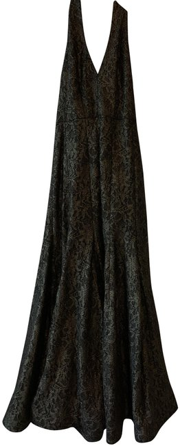 Item - Black/ Gold Halter Deep Slit Neck Long Formal Dress Size 6 (S)