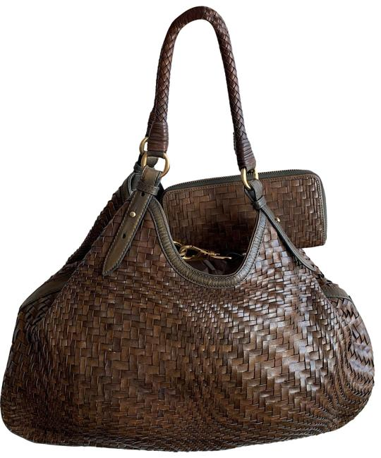 Item - Genevieve Triangle Olive Green Leather Hobo Bag