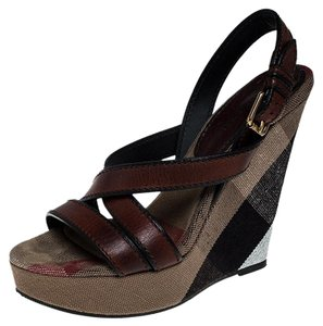 Burberry Leather Canvas Wedge Open Toe Burgundy Sandals