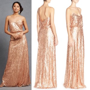 BHLDN Rose Gold Sequin Courtney Gown Formal Bridesmaid/Mob Dress Size 6 (S)
