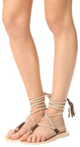 Cocobelle Leather Tassel Ankle Strap White Tan Beige Sandals