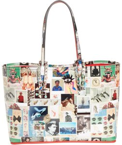 Christian Louboutin Cabata Collage Patent Leather Tote in White multi