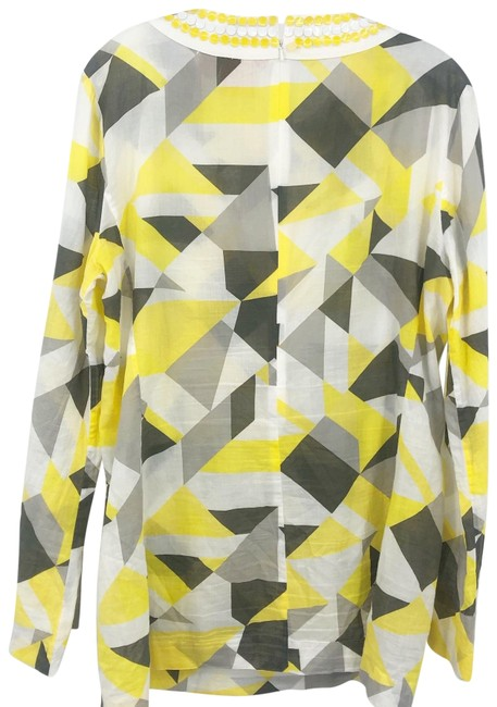 Item - Yellow/Taupe/Gray/White Geometric Print Sequin Embellished Tunic Size 12 (L)