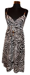 Diane von Furstenberg Diane von Furstenberg Brown White Zebra Stripe Print Swimsuit Cover-Up Beach Dress Size S Small