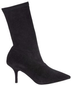 YEEZY Suede Pointed Toe Stretch Black Boots