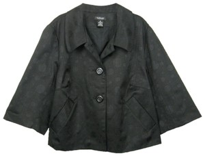 Spense Crop 3/4 Sleeve Textured Single Breasted Two Button Black Jacket