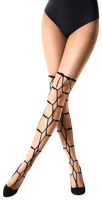 """Wolford Sahara/Black """"Alicia"""" Size: M Lace Up Pantyhose Hosiery Wolford Sahara/Black """"Alicia"""" Size: M Lace Up Pantyhose Hosiery Image 1"""