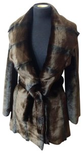 Cache Faux Collar Leopard Belted Formal Fur Coat