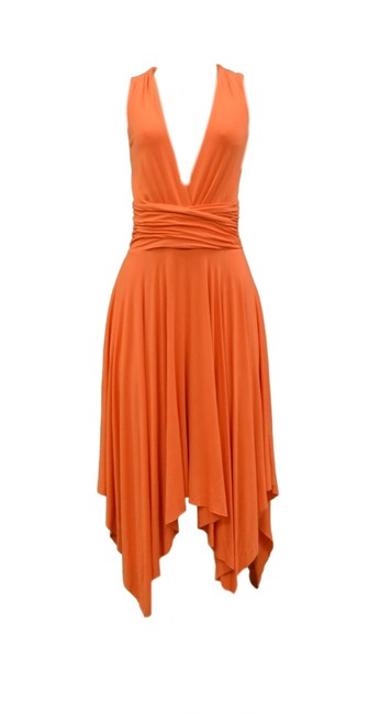 Item - Orange Open Back Asymmetric Long Night Out Dress Size 4 (S)