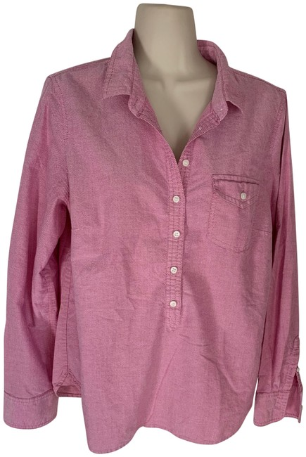 Item - Pink Chambray Pullover Button Up Blouse Button-down Top Size 8 (M)