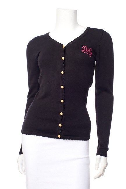 Item - Black & Pink Embroidered Cardigan Size 4 (S)