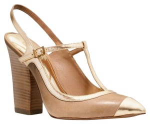 Coach Frankie Heels Heel Size 6.5 Vachetta Leather Q1946 A1897 Imported Luxe Ginger Gold Pumps
