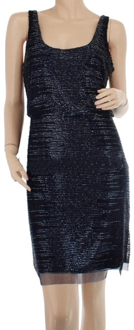 Item - Blue Marina Auberg Sequin Scalloped Hem Evening Mid-length Night Out Dress Size 8 (M)