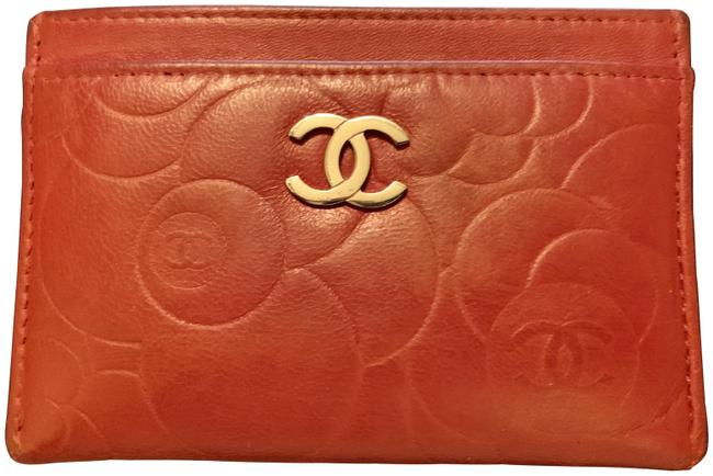 Chanel Red Camellia Card Holder Wallet Chanel Red Camellia Card Holder Wallet Image 1