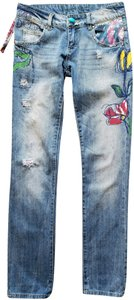Desigual Painted Flowers Sequins Sequin Pockets Turquoise Button Straight Leg Jeans-Distressed