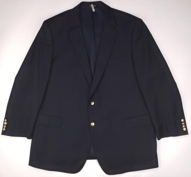 Item - Navy Blue Jos Signature Collection 50l Mens 2 Button Wool Lon Shirt