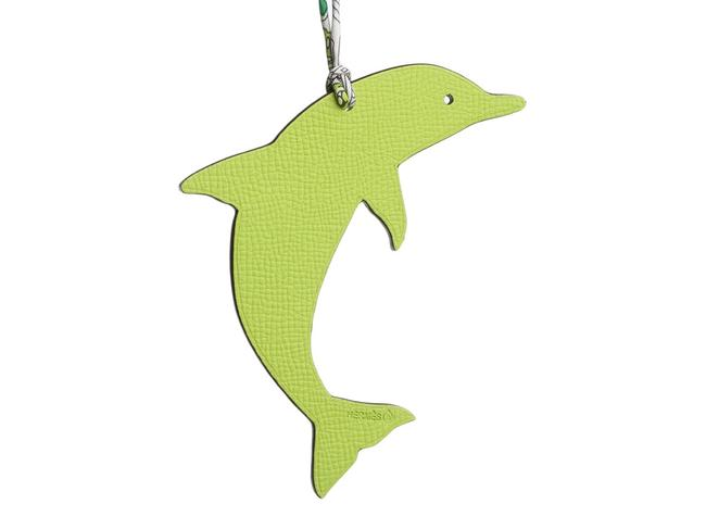 Item - Green Epsom and Brown Clemence Petit H Dolphin Bag Charm
